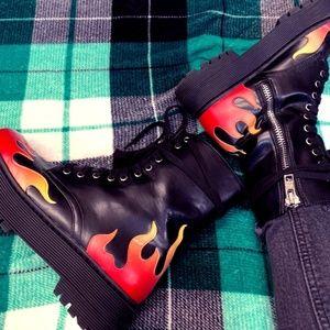 Hells Darling Platform Combat Boots - Dolls Kill